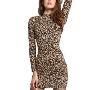 Bardot Mock Neck Cheetah Print Bodycon Dress NWT